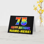 [ Thumbnail: 75th Birthday: Bold, Fun, Simple, Rainbow 75 Card ]