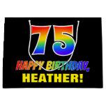 [ Thumbnail: 75th Birthday: Bold, Fun, Simple, Rainbow 75 Gift Bag ]