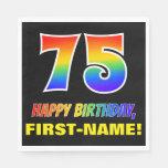 [ Thumbnail: 75th Birthday: Bold, Fun, Simple, Rainbow 75 Napkins ]
