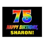 [ Thumbnail: 75th Birthday: Bold, Fun, Simple, Rainbow 75 Postcard ]
