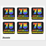 [ Thumbnail: 75th Birthday: Bold, Fun, Simple, Rainbow 75 Sticker ]