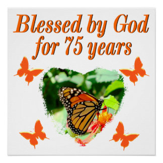 75TH BIRTHDAY BUTTERFLY DESIGN POSTER