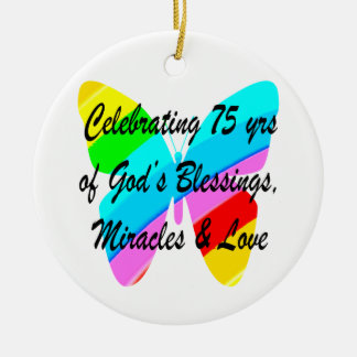 75TH BIRTHDAY BUTTERFLY PERSONALIZED DESIGN CERAMIC ORNAMENT