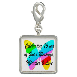 75TH BIRTHDAY BUTTERFLY PERSONALIZED DESIGN CHARM