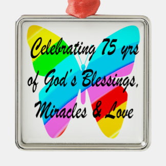 75TH BIRTHDAY BUTTERFLY PERSONALIZED DESIGN METAL ORNAMENT