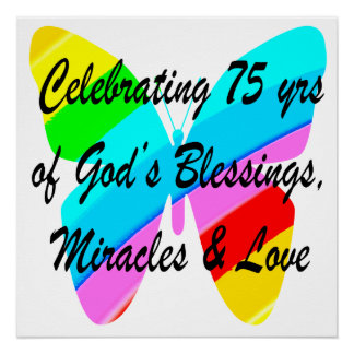 75TH BIRTHDAY BUTTERFLY PERSONALIZED DESIGN POSTER