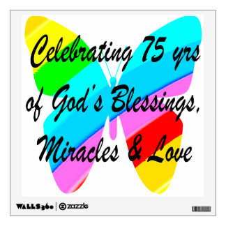 75TH BIRTHDAY BUTTERFLY PERSONALIZED DESIGN WALL STICKER