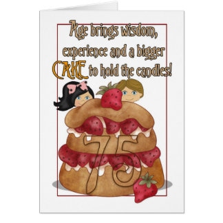 75th Birthday Card - Humour - Cake
