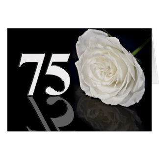 75th Birthday Card with a classic white rose