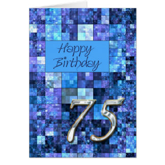 75th Birthday card with abstract squares.