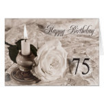 75th Birthday card with an antique rose
