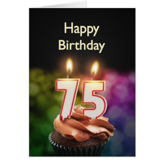 75th Birthday card with Candles