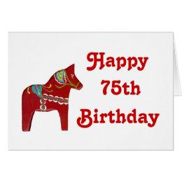 Happy birthday in swedish gifts on zazzle 75th birthday card with dala horse bookmarktalkfo Choice Image