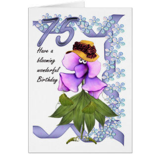 75th Birthday Card with Moonies cute bloomers,