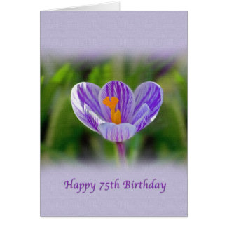 75th Birthday Card with Purple and White Flower
