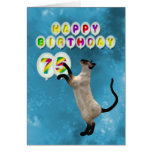 75th Birthday card with siamese cats