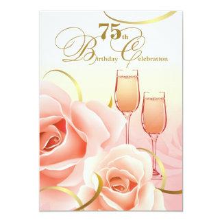 "75th Birthday Celebration Custom Invitations 5"" X 7"" Invitation Card"