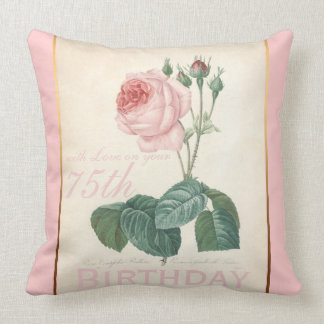 75th Birthday Celebration Vintage Rose Pillow