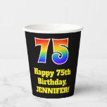 [ Thumbnail: 75th Birthday: Colorful, Fun, Exciting, Rainbow 75 ]