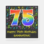 [ Thumbnail: 75th Birthday - Colorful Music Symbols, Rainbow 75 Napkins ]