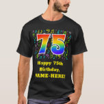 [ Thumbnail: 75th Birthday: Colorful Music Symbols, Rainbow 75 T-Shirt ]