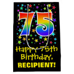 [ Thumbnail: 75th Birthday: Colorful Stars Pattern & Rainbow 75 Gift Bag ]