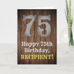 [ Thumbnail: 75th Birthday: Country Western Inspired Look, Name Card ]
