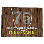 [ Thumbnail: 75th Birthday: Country Western Inspired Look, Name Gift Bag ]
