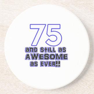 75th birthday design drink coaster