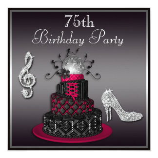 75th Birthday Disco Diva Cake and Heels Hot Pink Card