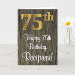 [ Thumbnail: 75th Birthday: Elegant Faux Gold Look #, Faux Wood Card ]
