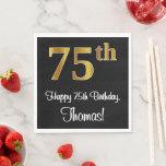[ Thumbnail: 75th Birthday ~ Elegant Luxurious Faux Gold Look # Napkins ]
