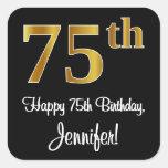 [ Thumbnail: 75th Birthday – Elegant Luxurious Faux Gold Look # Sticker ]