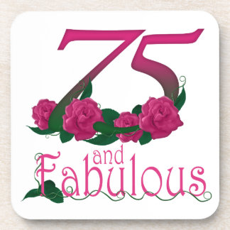 75th birthday fabulous pink floral age number beverage coaster