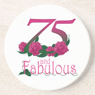 75th birthday fabulous pink floral age number sandstone coaster