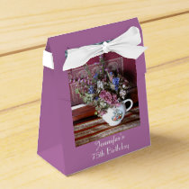 75th Birthday Favor Box, Vintage Teapot Favor Box