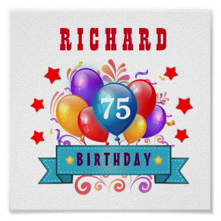 75th Birthday Festive Colorful Balloons C01G Poster