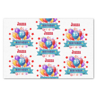 "75th Birthday Festive Colorful Balloons C01GZ 10"" X 15"" Tissue Paper"