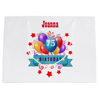 75th Birthday Festive Colorful Balloons C01GZ Large Gift Bag