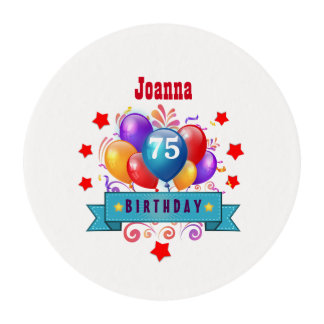 75th Birthday Festive Colorful Balloons C01GZ Edible Frosting Rounds