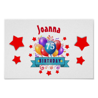 75th Birthday Festive Colorful Balloons C01GZ Poster
