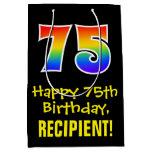 "[ Thumbnail: 75th Birthday: Fun, Bold, Colorful, Rainbow ""75"" Gift Bag ]"