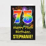 [ Thumbnail: 75th Birthday: Fun Fireworks Pattern + Rainbow 75 Card ]