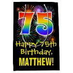 [ Thumbnail: 75th Birthday: Fun Fireworks Pattern + Rainbow 75 Gift Bag ]