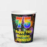 [ Thumbnail: 75th Birthday: Fun Fireworks Pattern + Rainbow 75 ]
