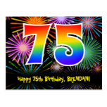 [ Thumbnail: 75th Birthday – Fun Fireworks Pattern + Rainbow 75 Postcard ]
