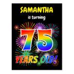 "[ Thumbnail: 75th Birthday - Fun Fireworks, Rainbow Look ""75"" Postcard ]"