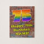 [ Thumbnail: 75th Birthday: Fun Graffiti-Inspired Rainbow 75 Jigsaw Puzzle ]