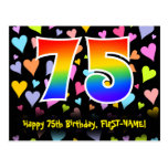 [ Thumbnail: 75th Birthday: Fun Hearts Pattern, Rainbow 75 Postcard ]
