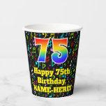 [ Thumbnail: 75th Birthday: Fun Music Notes Pattern, Rainbow 75 ]